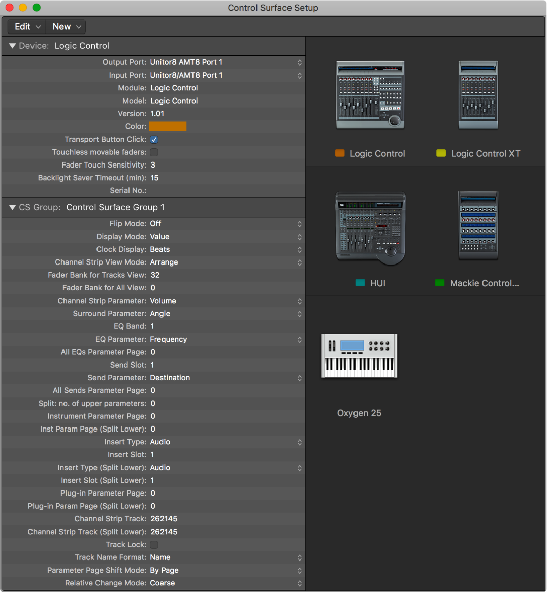 Logic Pro Control Surface Setup window with multiple control surfaces.
