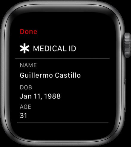 Екранът Medical ID (Медицински идентификатор), показващ името, датата на раждане и възрастта на потребителя.