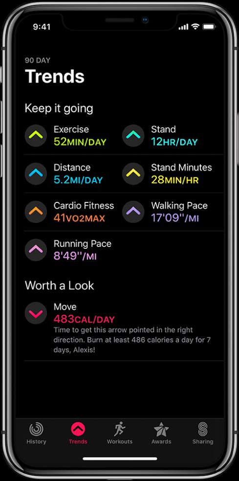 Етикетът Trends (Развитие) в приложението Activity (Активност) на iPhone. Под заглавието Trends (Развитие) в горния край на екрана се появяват множество показатели. Показателите включват Exercise (Упражнение), Stand (Стоене), Distance (Разстояние) и други. Move (Движение) се появява под заглавието Worth a Look (Заслужава си да се погледне).