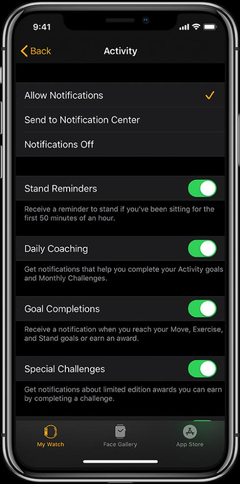 Екранът Activity (Активност) в приложението Apple Watch, където можете да персонализирате известията, които получавате.