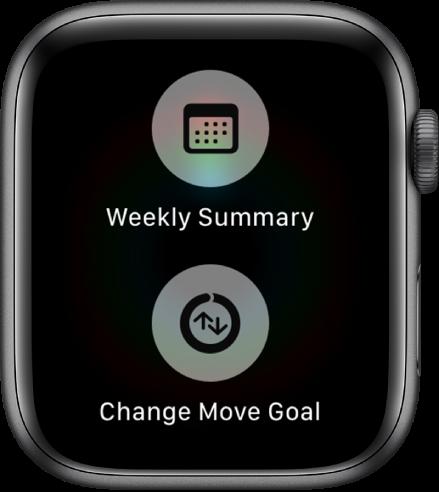 Екранът на приложението Activity (Активност), показващ бутона Weekly Summary (Седмично обобщение) и бутона Change Move Goal (Промяна на цел за движение).