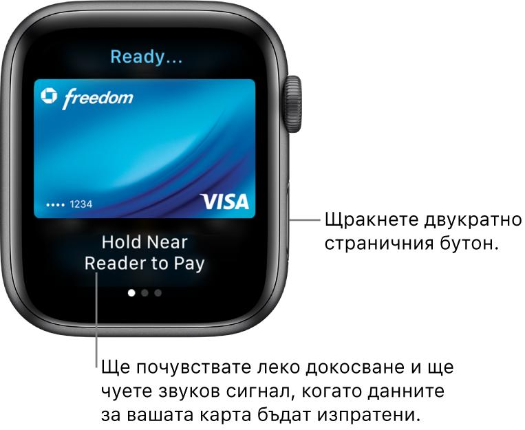 """Екран на Apple Pay с """"Ready"""" (Готов) отгоре и """"Hold Near Reader to Pay"""" (Задръжте близо до четеца, за да платите) отдолу; чувствате леко докосване и чувате звуков сигнал при изпращане на данните на картата."""