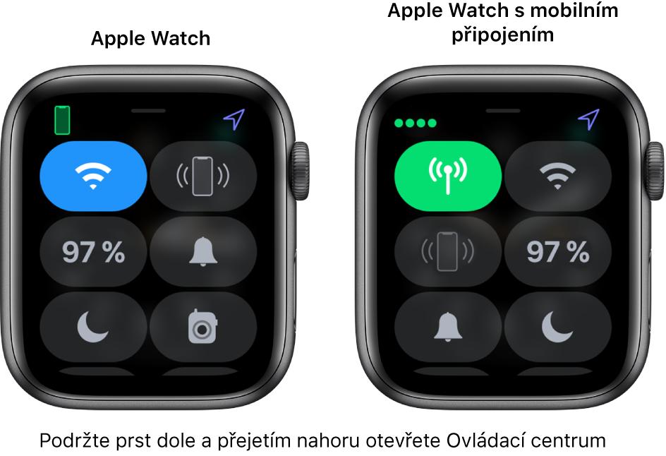 Dva obrázky. Levý obrázek ukazuje hodinky Apple Watch bez mobilního připojení se zobrazeným Ovládacím centrem. Vlevo nahoře se zobrazuje tlačítko Wi‑Fi, vpravo nahoře tlačítko Přehrát zvuk na iPhonu, vlevo uprostřed zbývající procenta baterie, vpravo uprostřed tlačítko Tichý režim, vlevo dole tlačítko Nerušit avpravo dole tlačítko Vysílačka. Pravý obrázek ukazuje hodinky Apple Watch smobilním připojením. VOvládacím centru se vlevo nahoře zobrazuje tlačítko Mobilní data, vpravo nahoře tlačítko Wi‑Fi, vlevo uprostřed tlačítko Přehrát zvuk na iPhonu, vpravo uprostřed zbývající procenta baterie, vlevo dole Tichý režim avpravo dole tlačítko Nerušit