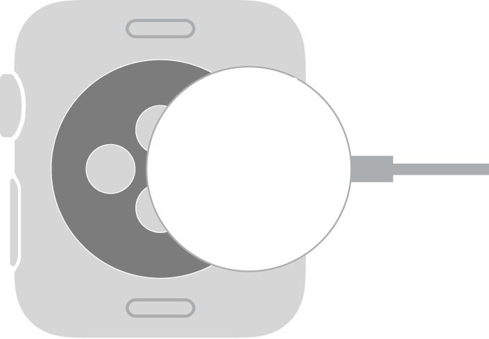 Vydutá strana magnetického nabíjecího kabelu pro AppleWatch se přichytí kzadní straně hodinek AppleWatch magneticky.