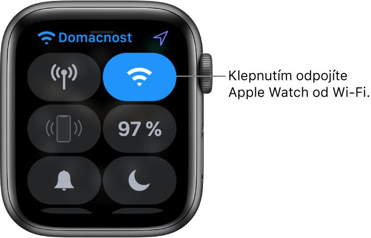 """Ovládací centrum na Apple Watch (GPS + mobilní data) stlačítkem Wi‑Fi vpravo nahoře Popisek stextem """"Klepnutím se odpojíte od Wi‑Fi"""""""
