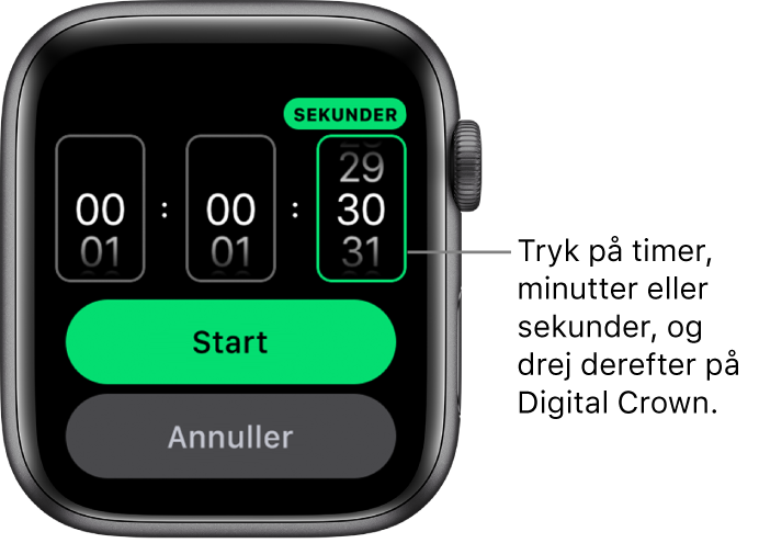 Indstillinger til oprettelse af en speciel tidtager med timen til venstre, minutterne I midten og sekunderne til højre. Knappen Start ses nedenunder.