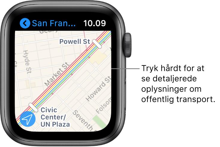Appen Kort, der viser oplysninger om offentlig transport, herunder ruter og navne på stoppesteder.
