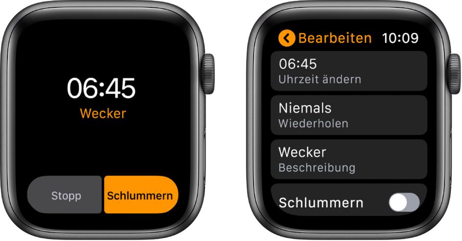 """Zwei Ansichten der AppleWatch: Eine Uhr zeigt ein Zifferblatt mit der Taste """"Schlummern"""", die andere Einstellungen für """"Wecker bearbeiten"""" und unten das Bedienelement """"Schlummern""""."""