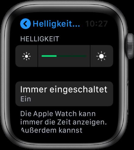"""Die Taste """"Immer eingeschaltet"""" im Bildschirm """"Helligkeit & Text"""" auf der Apple Watch."""