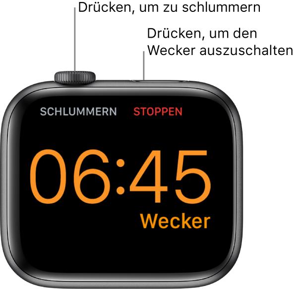 """Eine auf der Seite liegende AppleWatch mit einem klingelnden Wecker. Unter der Digital Crown befindet sich das Wort """"Schlummern"""". Unter der Seitentaste ist das Wort """"Stopp"""" zu sehen."""