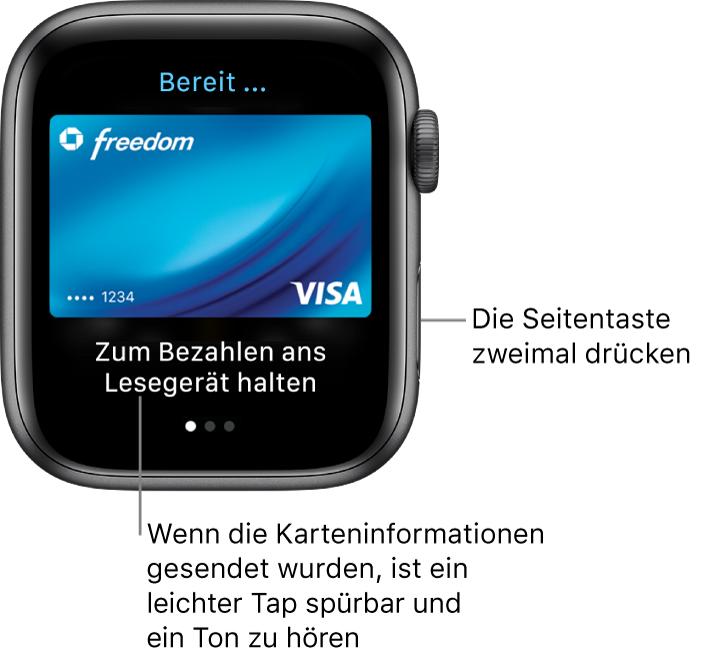 """Die App """"ApplePay"""" mit """"Fertig"""" oben und """"Zum Bezahlen an das Lesegerät halten"""" unten; du spürst einen leichten Tap und hörst einen Ton, wenn deine Karteninformationen gesendet werden."""