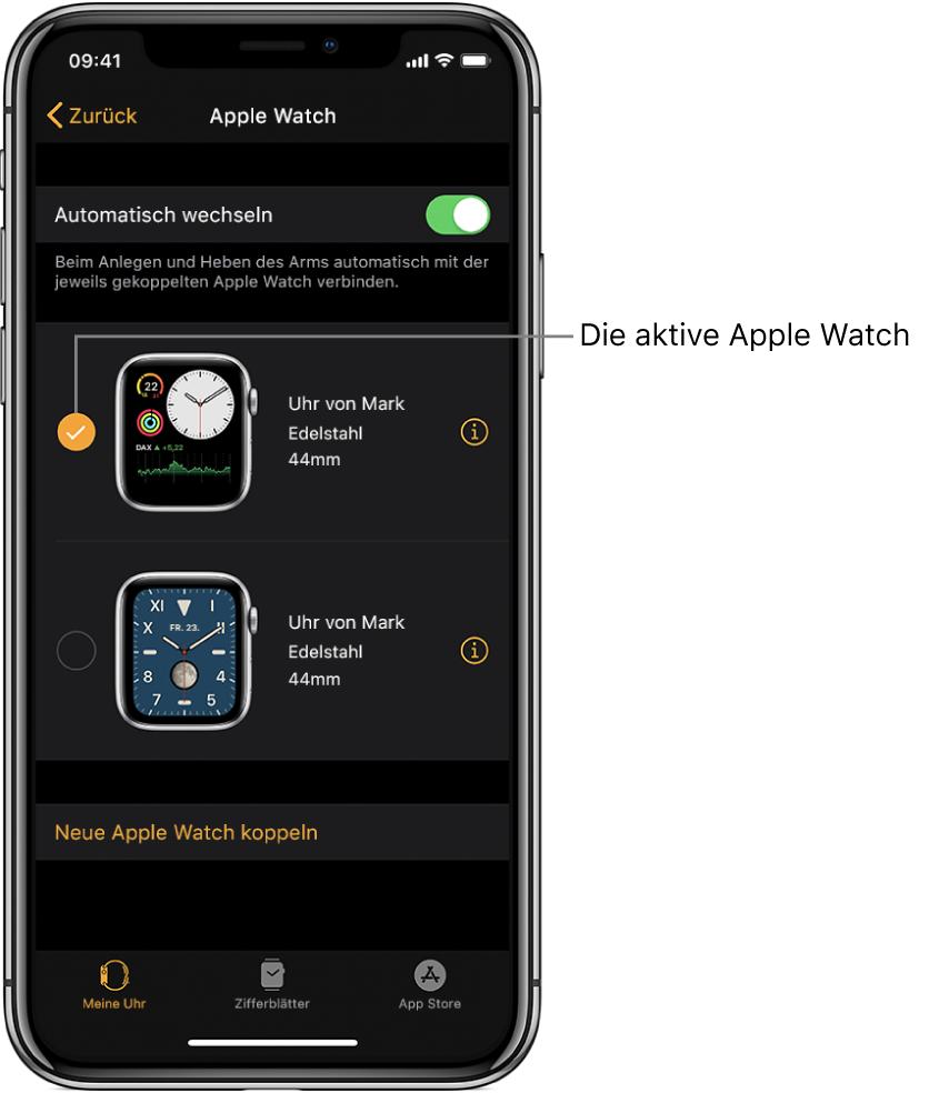 Häkchen für die aktive AppleWatch.