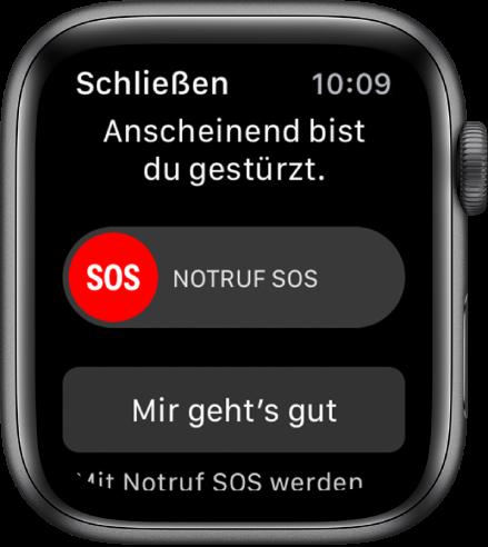"""Der Bildschirm """"Sturzerkennung""""."""