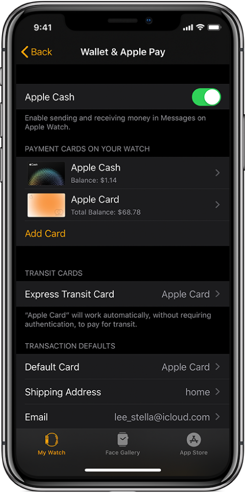 The Wallet & ApplePay screen in the Apple Watch app on iPhone. The screen shows cards added to Apple Watch, the card you've chosen to use for express transit, and transaction default settings.