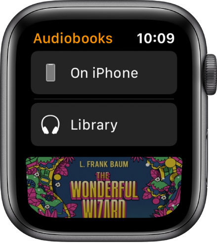 Apple Watch showing the Audiobooks screen with iPhone at the top, Library below, and a portion of an audiobook's cover art at the bottom.