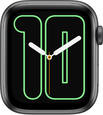 Numerals Mono l watch face showing analog hands over a large number, indicating the date.