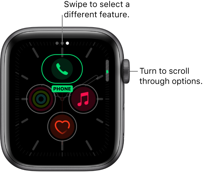The customize screen for the Meridian watch face with Phone complication highlighted. Turn the Digital Crown to change options.