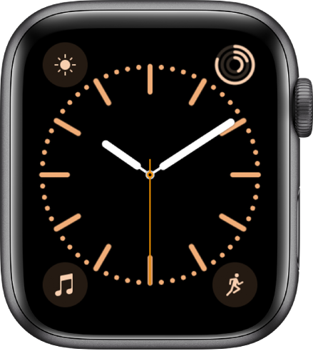 The Color watch face, where you can adjust the color of the watch face. It shows four complications: Weather at the top left, Activity at the top right, Music at the bottom left, and Activity at the bottom right.