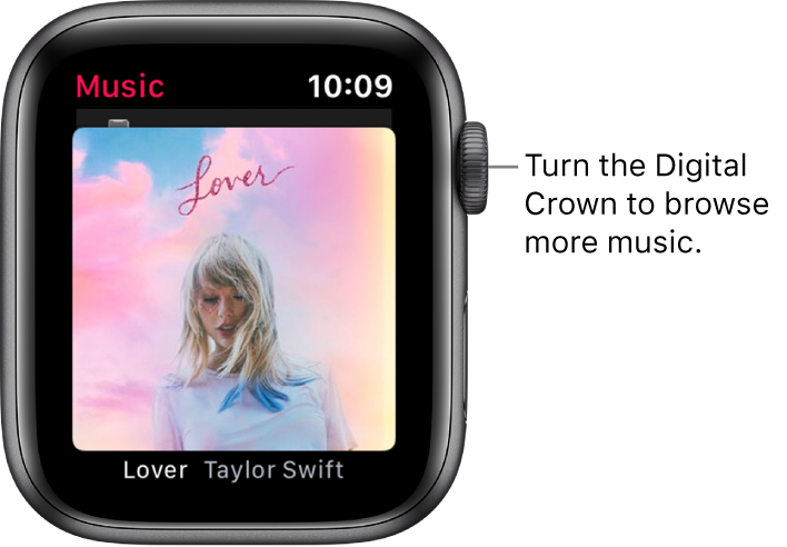 Screen showing an album and its artwork in the Music app.