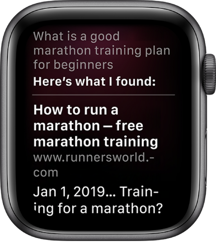 "Siri replying to the question, ""What is a good marathon training plan for beginners"" with an answer from the web."