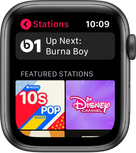 The Radio screen showing Beats 1 radio at the top and two featured stations below.