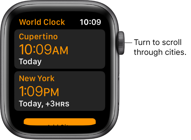 The World Clock app with list of cities and scroll bar.