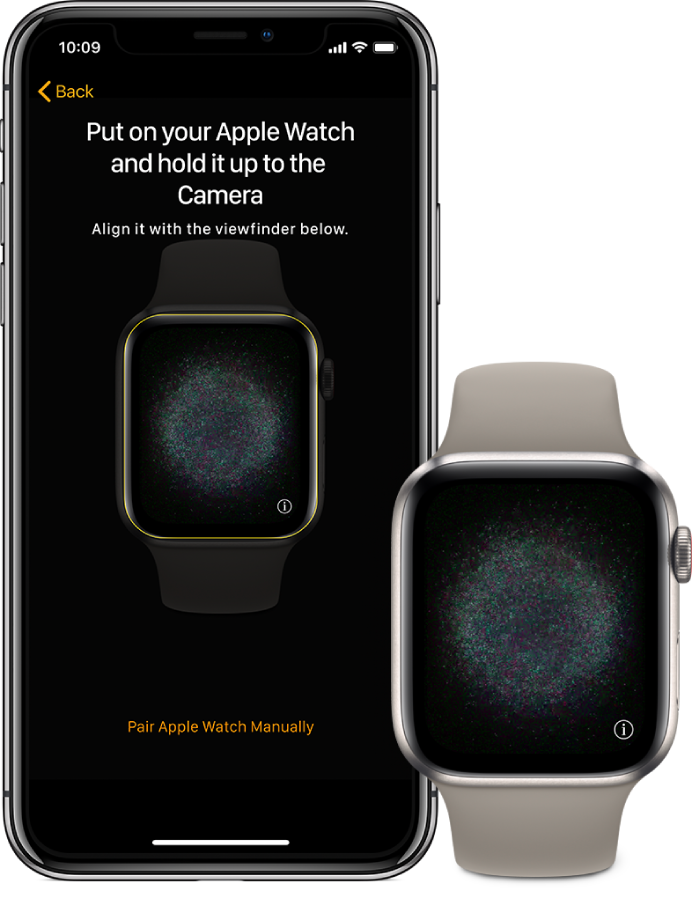 An iPhone and watch, side by side. The iPhone screen displays the pairing instructions with Apple Watch visible in the viewfinder, and the Apple Watch screen displays the pairing image.