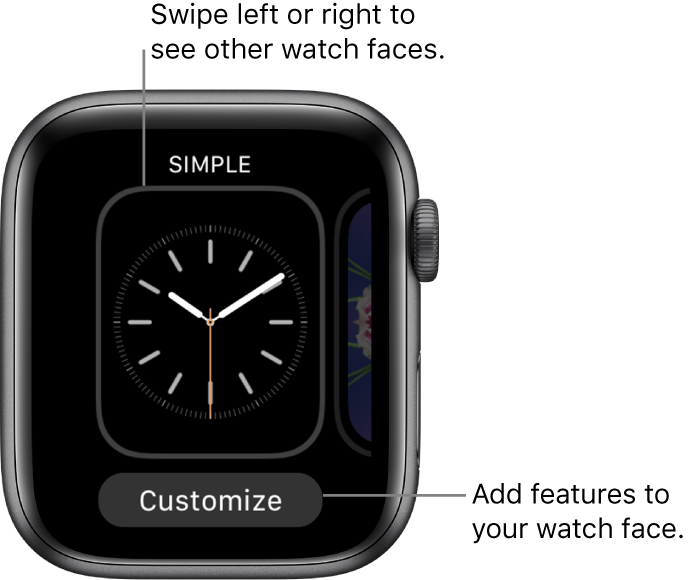 When you firmly press the watch face, you see the current watch face with a Customize button at the bottom. Swipe left or right to see other watch face options. Tap Customize to add the features you want.