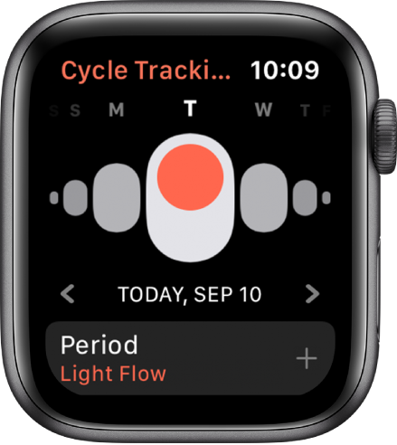 The Cycle Tracking screen showing days of the week at the top, the current date below, and the Period button at the bottom.