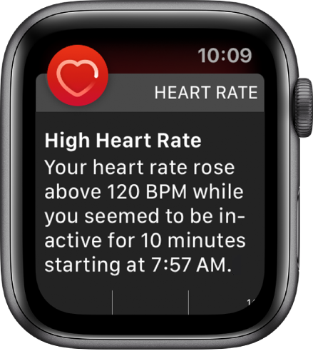 The High Heart Rate screen showing a notification that your hear rate rose above 120 BPM while you've been inactive for 10 minutes.