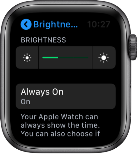 The Apple Watch screen showing the Always On button in the Brightness and Text Size screen.