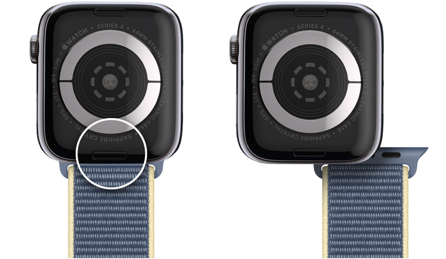 Two images of Apple Watch. The image on the left shows the band release button. The image on the right shows a watch band partially inserted into the band slot.