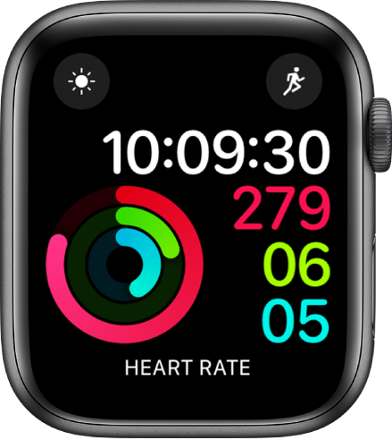 Activity Digital watch face showing the time as well as Move, Exercise, and Stand goal progress. There are also three complications: Weather Conditions at the top left, Workout at the top right, and Heart Rate at the bottom.