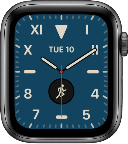 The California watch face, showing a mix of Roman and Arabic numerals. It shows two complications: Date and Workout.