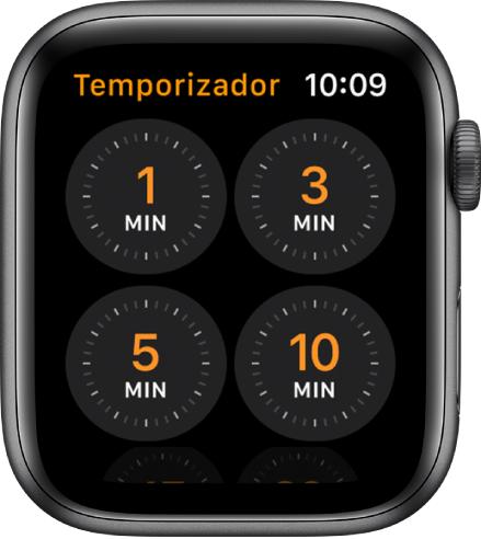 Pantalla de la app Temporizador mostrando temporizadores de 1, 3, 5 o 10 minutos.