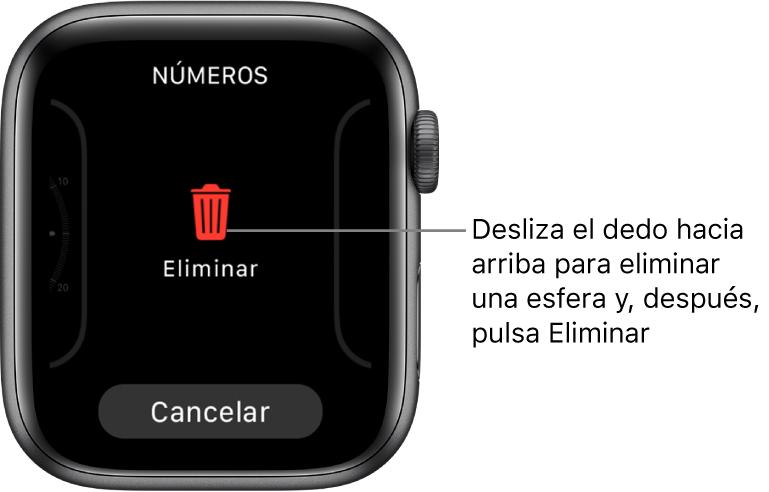 Pantalla del AppleWatch con los botones Eliminar y Cancelar, que aparecerán después de que deslices el dedo hasta una esfera y, a continuación, deslices el dedo hacia arriba en la misma para eliminarla.