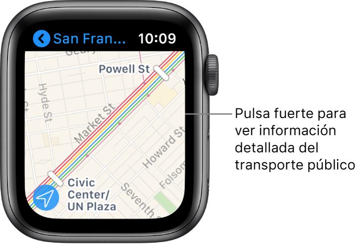 La app Mapas con los detalles del transporte público, incluidas las rutas y los nombres de las paradas.