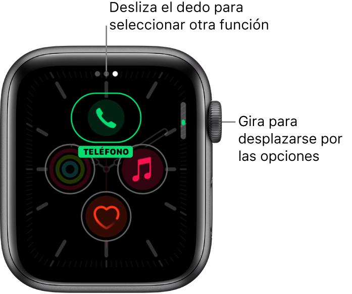 La pantalla de personalización de la esfera Meridiano con la complicación Teléfono resaltada. Gira la corona DigitalCrown para cambiar las opciones.