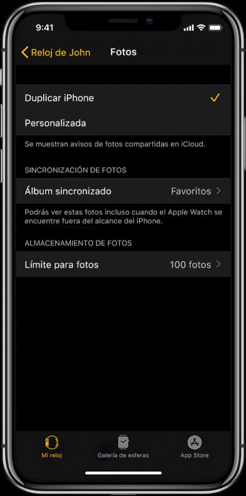 """Ajustes de Fotos en la app AppleWatch del iPhone, con el ajuste """"Álbum sincronizado"""" en el medio y el ajuste """"Límite para fotos"""" debajo."""
