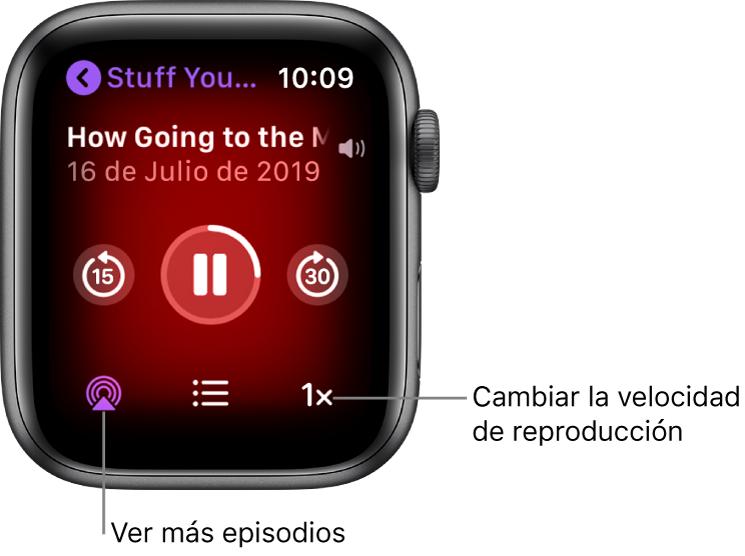"""Una pantalla """"Ahora suena"""" de Podcasts, con el título del programa, el título del episodio, la fecha, el botón de retroceder 15 segundos, el botón de pausa, el botón de avanzar 30 segundos, el botón de episodios, el indicador de volumen y el botón de velocidad de reproducción."""