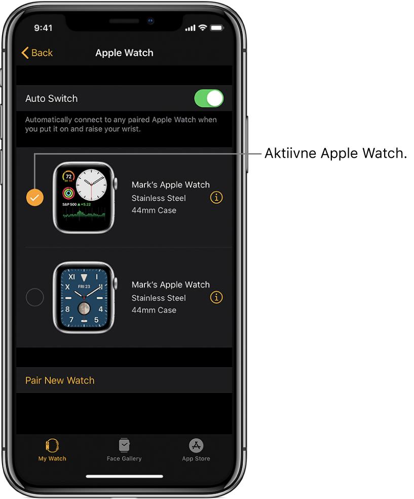 Linnuke tähistab aktiivset Apple Watchi.