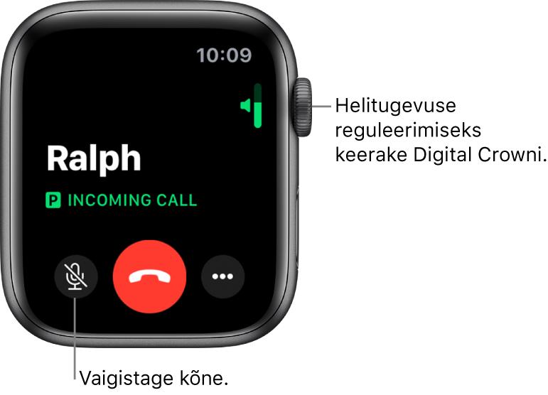 Saabuva kõne ajal kuvatakse ekraanil üleval paremal horisontaalne helitugevuse indikaator, all vasakul nupp Mute, punane nupp Decline ning nupp More Options.