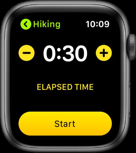 Eesmärgikuva, mille ülaosas kuvatakse aega koos nuppudega – ja + otstes ning nupuga Start allosas.