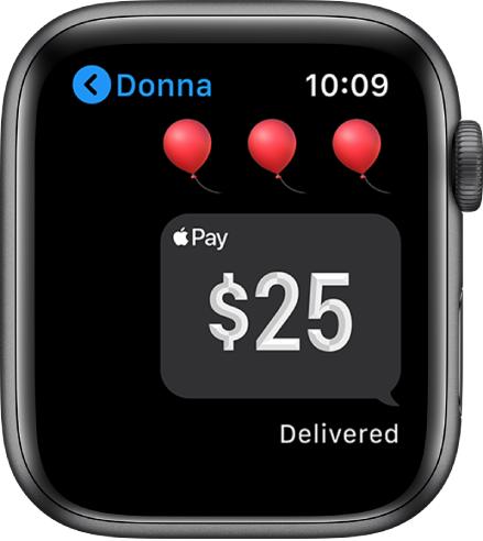 Rakenduse Messages kuva, mis näitab et Apple Cashi makse edastati.