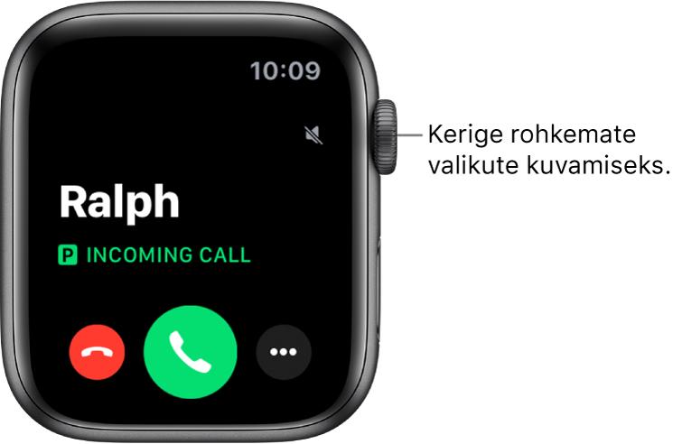 """Apple Watchi kuva kõne vastuvõtmisel: helistaja nimi, sõnad """"Incoming Call"""", punane nupp Decline, roheline nupp Answer ning nupp More Options."""