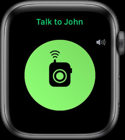 """Walkie-Talkie kuva, mille keskel on nupp Talk, üleval paremal on helitugevuse indikaator ning üleval valik """"Talk to John""""."""