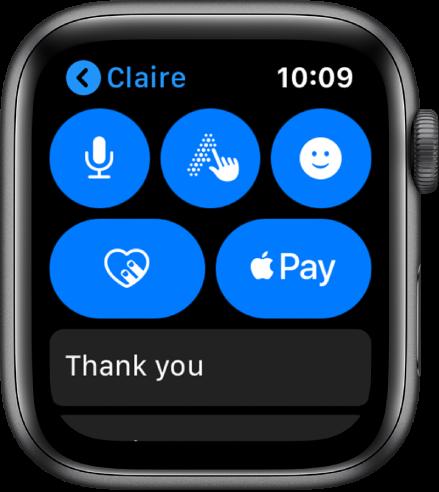Rakenduse Messages kuva, kus all paremal on nupp Apple Pay.
