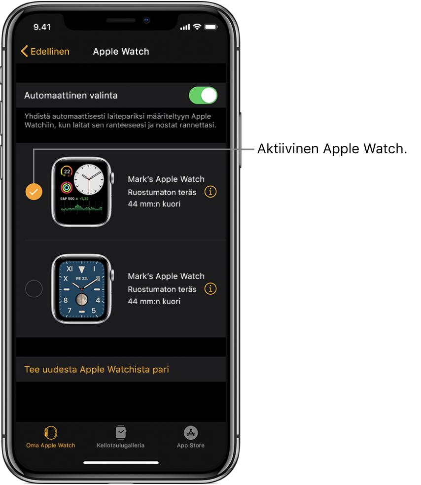 Valintamerkki osoittaa aktiivisen AppleWatchin.