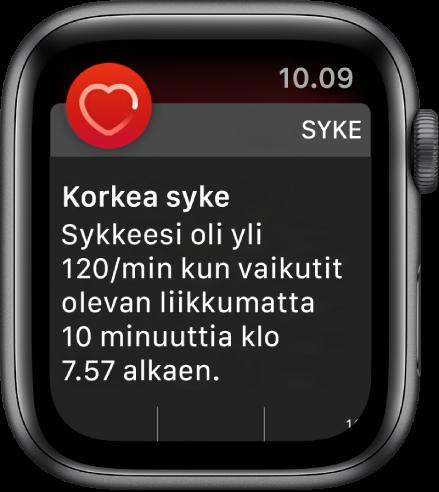 Syke-näyttö, jossa näkyy ilmoitus, että sykkeesi nousi yli 120/min, kun et ollut aktiivinen 10 minuuttiin.