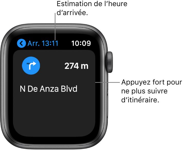 L'app Plans indiquant l'heure d'arrivée estimée en haut à gauche, le nom de la rue après le prochain virage et la distance avant ce virage. Une légende pointe vers l'écran et affiche le message suivant: «Appuyez fort pour arrêter les itinéraires».